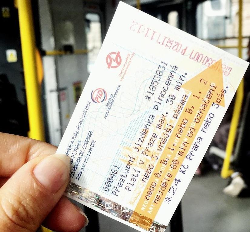 Вид одноразового билета в Чехии