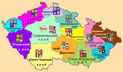 Административная карта областей Чехии