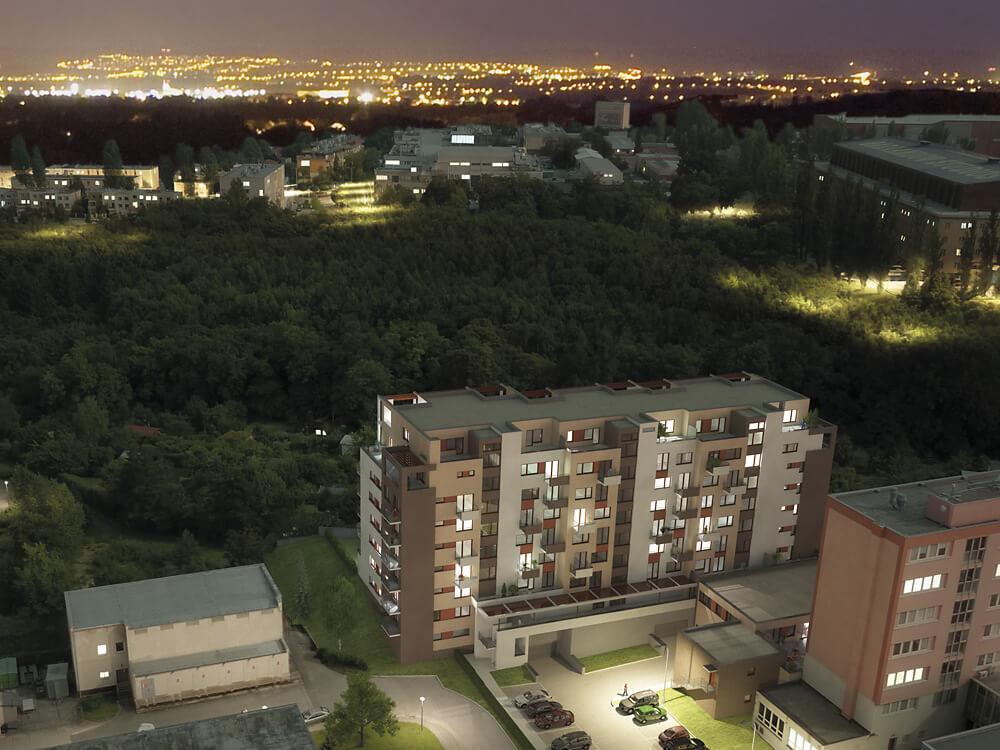 Современные квартиры в зелени с видом на Прагу