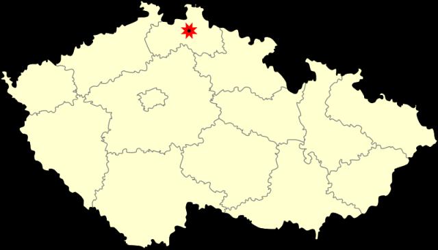 город Либерец на карте Чехии