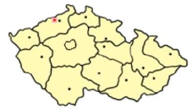 Teплице на карте Чехии