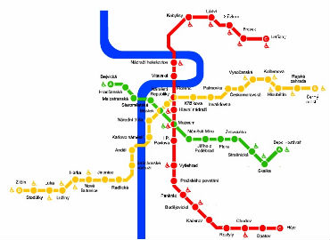 Схема метрополитена в Праге